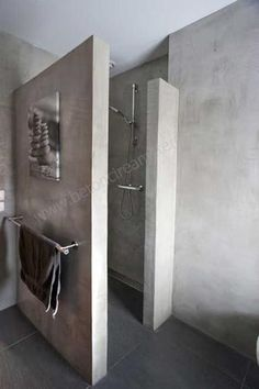 Nice inspirational picture for our concrete look. Materials for wall finishing: Concrete, Tadelakt, Bathroom Toilets, Small Bathroom, Master Bathroom, Spanish Bathroom, Concrete Bathroom, Concrete Shower, Wet Rooms, Beautiful Bathrooms, Bathroom Interior