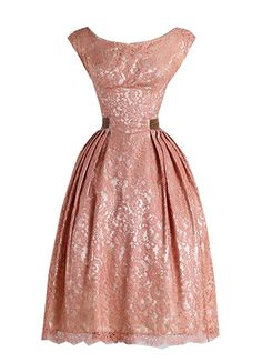 LWELA Vintage 50s Lace Rockabilly Swing Evening Bridesmaid Dress Small Pink