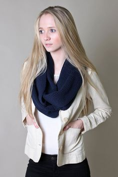 Organic Cotton Knit Infinity Scarf Navy Blue Thick Loop Winter Shawl (Total Eclipse) at Amazon Women's Clothing store: