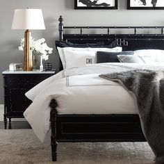 Discover Williams-Sonoma Home's bedroom furniture collections for luxury bedroom sets. Shop coordinating bedroom furniture for a classic and timeless style. Black Bedroom Furniture, Bedroom Black, Black Bedding, Furniture Layout, Kitchen Furniture, Furniture Cleaning, Gray Comforter, Furniture Mattress, King Furniture