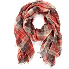Sole Society Plaid Scarf (47 AUD) ❤ liked on Polyvore featuring accessories, scarves, red, plaid, tartan shawl, plaid scarves, red plaid shawl, lightweight scarves and plaid shawl