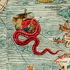 COOL! Interactive Map -- Olaus Magnus' Carta Marina: Sea monsters on a gorgeous Renaissance map. - Slate Magazine