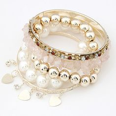 Cute Gold Beads Crystal Simulated Pearl Beads Multilayer Charming Bracelets Bangles Fashion Bracelet for women Jewelry 2017
