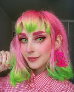 Hair Dye Colors, Cool Hair Color, Creative Hair Color, Vivid Hair Color, Neon Hair, Neon Green Hair, Yellow Hair, Orange And Pink Hair, Alternative Hair