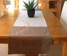 Items similar to Table runner, linen lined with cotton, 2 tones (taupe and cream), X with felt trim on Etsy Table Runners, Taupe, Ottoman, The 100, Felt, Cream, Chair, Creative, Handmade