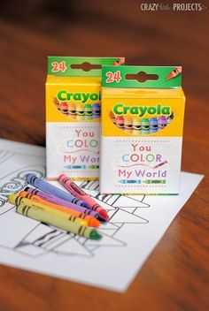 Color My World Valentine - In August when the Crayolas are $.25/box, I'll pick up a class set of crayons and save them for Valentine's Day.