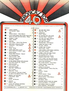 Veronica top 40 hit list of the radio Freddy Breck, Radar Love, Christian Anders, Whiskey In The Jar, Im Gonna Love You, The Doobie Brothers, Maybe Tomorrow, The Osmonds, Music Charts