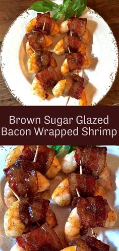 Brown Sugar Glazed Bacon Wrapped Shrimp - - Brown Sugar Glazed Bacon Wrapped Shrimp is amazingly delicious fresh, briny shrimp wrapped in sweet and smoky glazed bacon and baked until they reach perfection! Easy, simple, and utterly addictive. Appetizers For A Crowd, Seafood Appetizers, Appetizer Recipes, Appetizer Party, Shrimp Recipes, Bacon Wrapped Shrimp, Brown Sugar Glaze, Snacks Sains, Lard