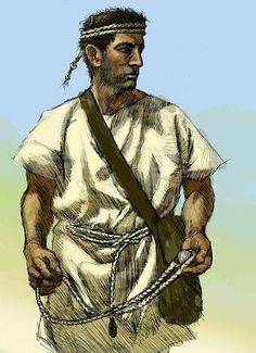 Balearic slinger. The people of the Gymnesian Islands were famous for their skill with the sling. They went into battle with only a small buckler, and a javelin burnt at the end, and in some cases tipped with a small iron point; but their effective weapons were their slings, of which each man carried three. The three slings were of different lengths, for stones of different sizes; the largest they hurled with as much force as if it were flung from a catapult; and they seldom missed their…