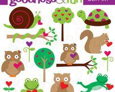 Buy 2, Get 1 FREE - Forest Darlings Animal Valentine Clipart -Digital Animal Valentine Clipart - Instant Download