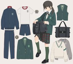 No automatic alt text available. Anime Uniform, Manga Clothes, Drawing Clothes, Anime School Girl, Japanese School Uniform, Anime Outfits, Character Outfits, Drawing Reference, Fashion Sketches