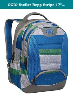 """OGIO Stellar Repp Stripe 17"""" Laptop Backpack Multipurpose Storage Compartments. This OGIO backpack is great for school or hiking. Multi-compartment functionality includes space for up to a 17"""" laptop and iPad sleeve. Compartments are padded for gear. Water bottle side pocket available. Ergonomic design. This bag is 19.5 x 13 x 9. Great size and design."""
