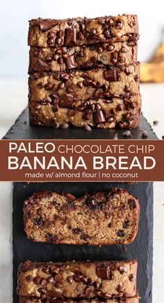 The BEST Almond Flour Paleo Banana Bread with chocolate chips – SO freaking good and simple. The BEST Almond Flour Paleo Banana Bread with chocolate chips – SO freaking good and simple. Paleo Bread, Paleo Baking, Baking Recipes, Paleo Food, Paleo Diet, Paleo Meals, Nutrition Diet, Paleo Recipes For Kids, Primal Recipes