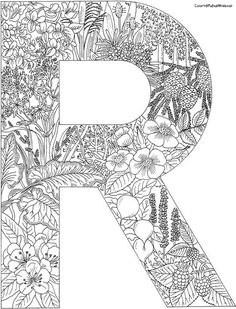 R letter filled with R words http dailycoloringpages