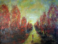 Landscape Oil Painting LARGE Original Artwork, ROAD Less TRAVELED 48×36  Art by BenWill