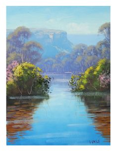 Blue Mountains painting megalong creek oil by GerckenGallery, $98.00