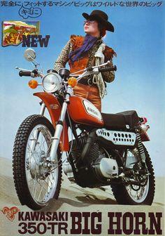 Kawasaki F9 350-TR Big Horn - Vintage Motorcycle Brochure / Ad Kawasaki Motorbikes, Kawasaki Motorcycles, Yamaha Bikes, Enduro Vintage, Vintage Bikes, Motorcycle Posters, Retro Motorcycle, Classic Motors, Classic Bikes