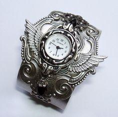 Steampunk Watch Gothic Nouveau Cuff Watch Bracelet by AbsentAngel, $145.00