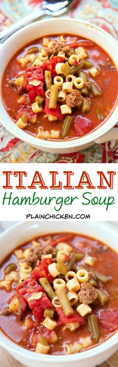Italian Hamburger Soup - ground beef, peppers, stewed tomatoes, green beans, tomato sauce, oregano, basil and pasta SO good!