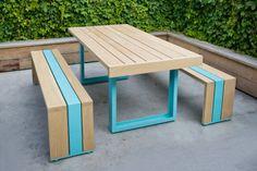 scout regalia / oak and steel table + bench set