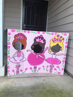 Your little ballerina and her guests will love posing in this photo-op! This piece has been painted onto a trifold display board and has been painted by hand with acrylic paints and lots of glitter! It is 3 feet tall and 4 feet, wide when opened up. Message me if you would like certain