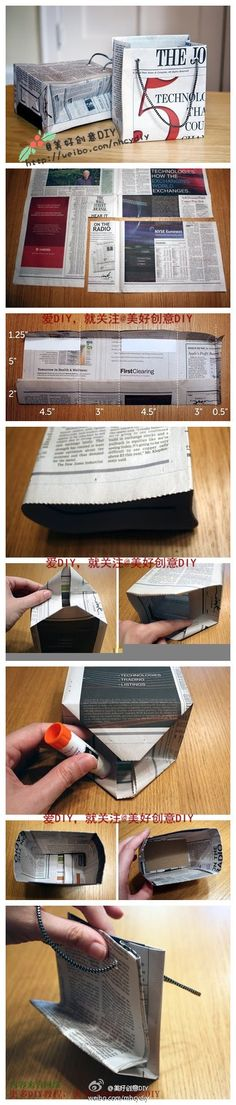 DIY newspaper bags. This is so cool bcuz most ppl reuse gift bags, how historical.