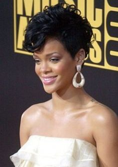 Rihanna Short Tapered Curly Hair Style