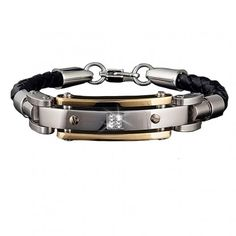 Men's Diamond Leather Bracelet