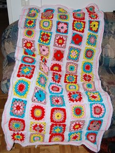 Five different square patterns including basic granny, cluster, popcorn flower, puff flower, and petal flower. To make afghan, make 12 rotating colors for each.