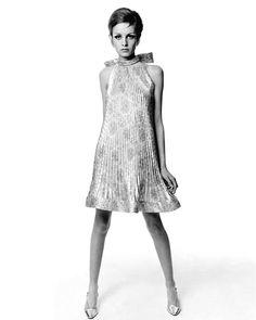 Twiggy in a dress by Pierre Cardin for Vogue, 1967. Photo by Bert Stern.
