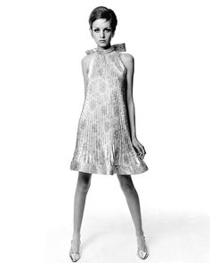 Twiggy in a dress by Pierre Cardin for Vogue, 1967. Photo by Bert Stern.