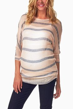 Pale Pink Grey Striped Knit Maternity Top