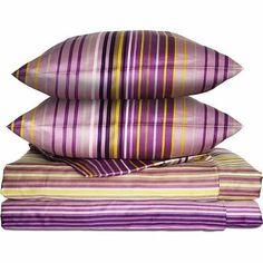 IKEA Palmlilja Duvet Quilt Cover Full Queen Purple Lilac Satin Retro Stripes New | eBay