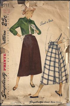 Vintage 50s Dress Pattern Simple to Make Skirt with Back Pleat by HoneymoonBus, $10.99