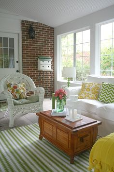 My Sunroom: Come In and Sit a Spell - Hooked on Houses Porch To Sunroom, Small Sunroom, Porch Roof, Front Porches, Florida Room Decor, Indoor Sunroom Furniture, Sunroom Decorating, Decorating Ideas, Ektorp Sofa