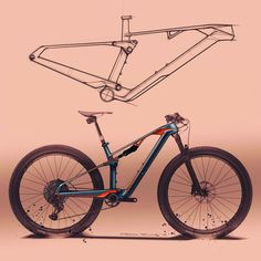 Loving the form trends in cross-country mountain bike design these days. Impossibly thin seat stays, sharp and angular tube transitions,… Cross Country Mountain Bike, Mountain Bike Frames, Mountain Bike Helmets, Motorbike Design, Bicycle Design, Bicycle Sketch, Bmx Bike Parts, Bicycle Tattoo, Moutain Bike