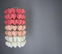 Coral, Peach & Cream Modern Ombre Heart Paper Mobile Chandelier