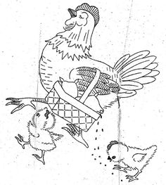hen and chicks vintage embroidery pattern