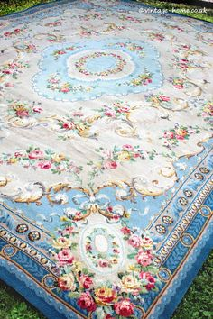 Vintage Home Shop - Roses Galore! Glorious 1930s Aubusson Style Wool Carpet: www.vintage-home.co.uk