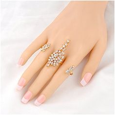 9K YELLOW GOLD GP Oval Crystal three-stone Ladies Stack Finger Knuckle Ring Gift