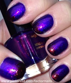 Max factor fantasy fire ( unicorn pee) 2 coats over a blue/purple with black tip gradient.