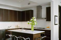 Contemporary kitchen in dark brown and cream.