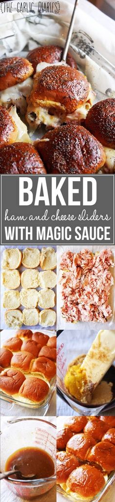 Baked Ham and Cheese Sliders with Magic Sauce - These sliders will be the best thing you have ever eaten! The sandwiches are just simple with ham and cheese, but when you pour that magic sauce over top and bake them, you won't believe their amazing transformation!! TheGarlicDiaries.com