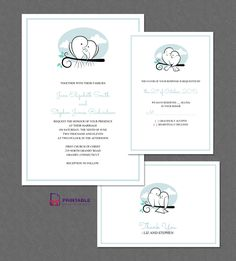 Sweet Birds Wedding Invitation Set. For customizations: printableinvitationkits[at]gmail[dot]com