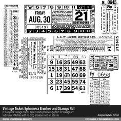 Vintage Ticket Ephemera Brushes and Stamps No. 01- Katie Pertiet Brushes vintage ticket stamps for creating collage art #collage #stamps #digitalart #vintage #ticket #designerdigitals #digitalscrapbooking