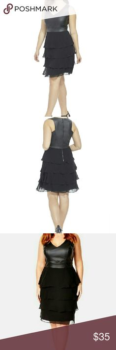 Leather sleeveless ruffled dress This is one stunning plus size dress definitely a showstopper the top is 60% polyester 40% poly vinyl chloride the skirt is 100% polyester the extra lining is 97% polyester 3%elastane City Chic Dresses