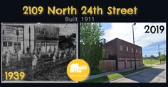 This then-and-now comparison graphic shows the Micklin Lumber Company Building at 2109 North 24th Street. Built in 1911, it was listed as part of the North 24th and Lake Streets Historic District in 2016. Its shown here in 1939 and 2019.