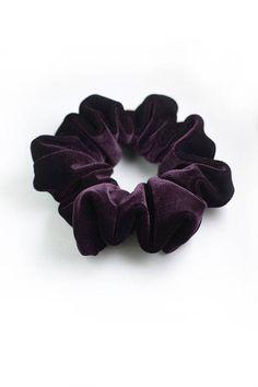 2 Black and Brown VELVET Hair Scrunchie Elasticated Stretchy School Gym Scrunchy