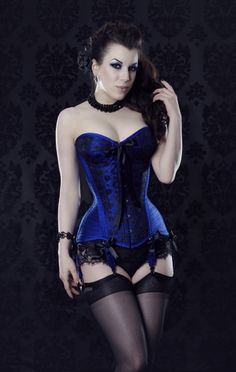 MF1316 Midnight Blue cupped overbust corset in silk with black lace overlay. Edwardian hourglass shape. Shown with 6 shirred garters and black satin bows.