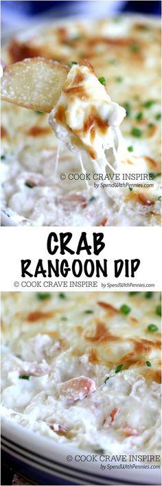 Crab Rangoon Dip (with wonton chips!). Creamy cheesy crab dip with wonton… Party Dip Recipes, Cheese Dip Recipes, Party Dips, Seafood Recipes, Bunco Party, Seafood Dip, Cooking Recipes, Cooking 101, Spicy Recipes